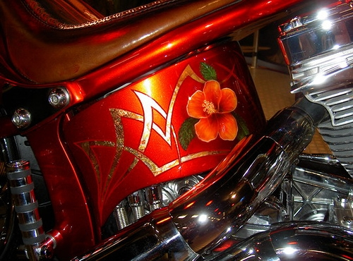 Airbrush and gold leaf, custom on Harley