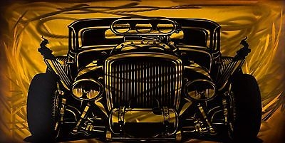 $75 Hot Rod Metal Art Airbrushed Pinstripe Panel Car - Yellow 16