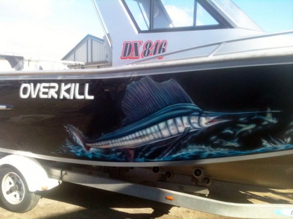 Overkill Boat | Airbrush Art | Professional Air Brush Artist in Perth, WA