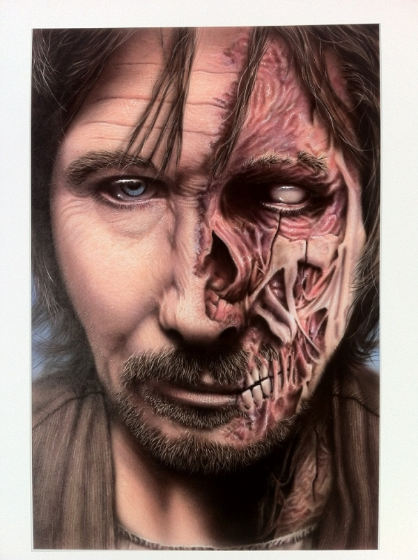 "Awesome Gary Oldman Half Zombified Step by Step - from ""haasje dutchairbrush"""