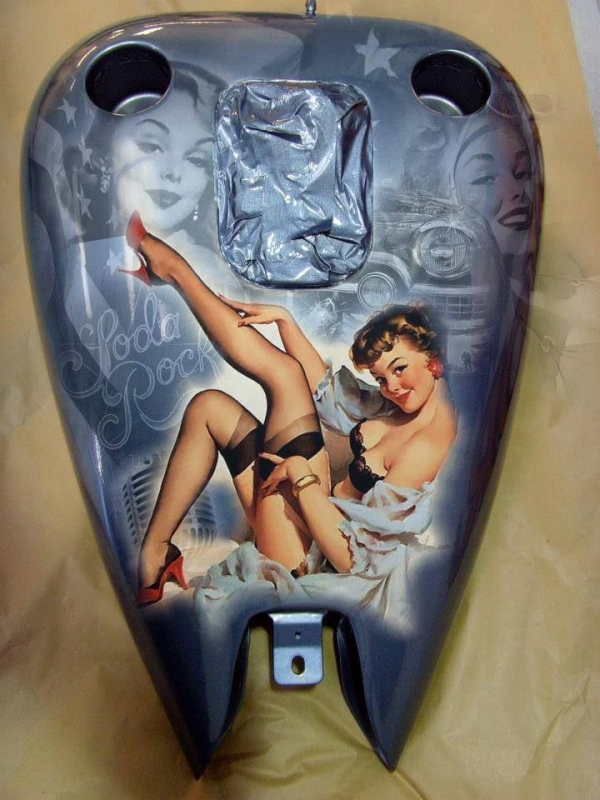 "Old Style ""betty Page"" Harley Davidson Tank"