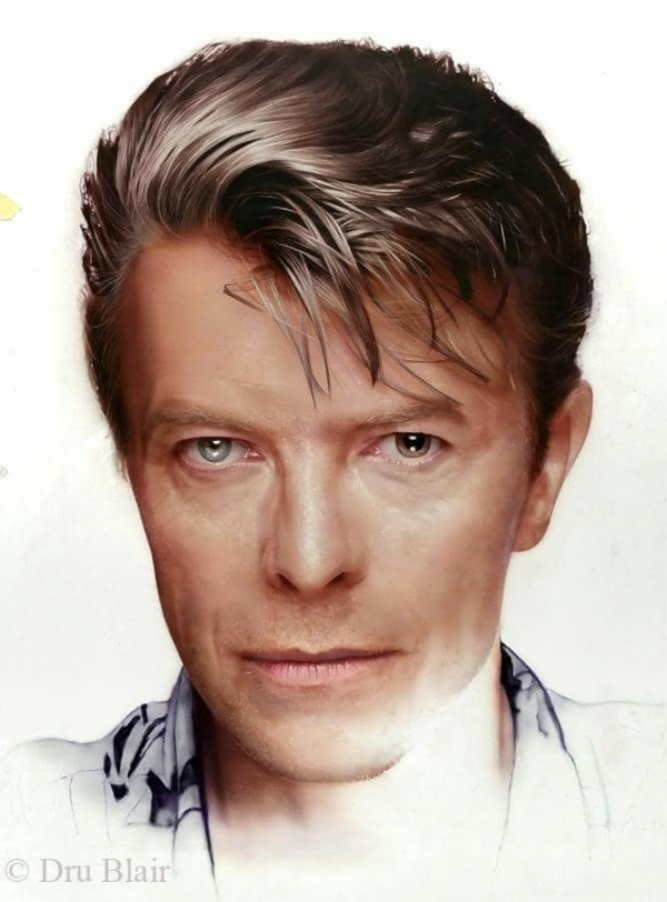 David Bowie photorealistic portrait, by Dru Blair