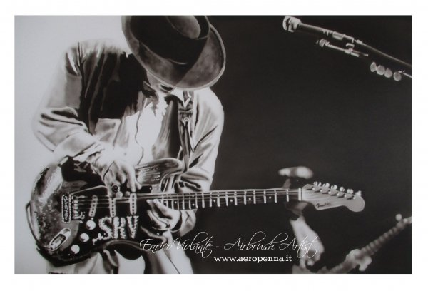 stevie ray vaughan, airbrush on cardboard