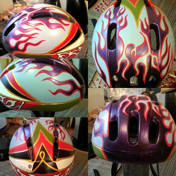 I hand-painted this cycling helmet 4 years ago, using acrylics