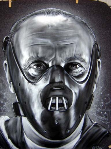 Hannibal Lecter B&W Airbrushed on a T-shirt