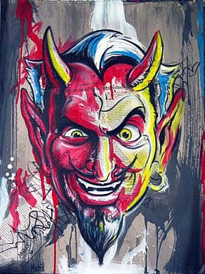 """The Devil Made Me Do It"" - Original painting by Tim Miklos 2013"