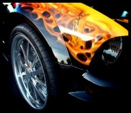 Airbrush Mustang & Flames...on Ford Mustang - Kustom Airbrush