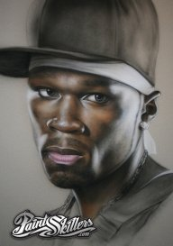 50 CENT AIRBRUSH REALISTIC PORTRAIT by Konf - Airbrush Stuff