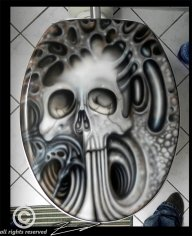 Obvious Winner - ow - Crap Some Macabre Skeletons Under This Gnarly Skull Toilet Lid - Favorite Art