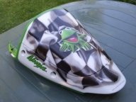 Airbrush Flag and Cartoon Artwork on Kawasaki Ninja - Airbrush Artwoks