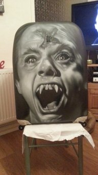 Evil Ed fright night airbrush portrait by maffikus - Airbrush Artwoks