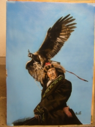 mongol falconer on canvas - Airbrush Artwoks