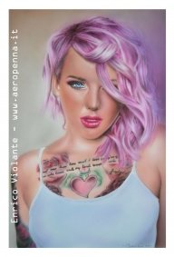 purple hair, airbrush portrait on schoellerboard - Airbrush Artwoks
