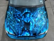 Airbrush Art on Bonnet | No Rules No Shame - Kustom Airbrush