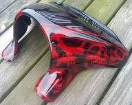 Candy Red Skull Fairing airbrushfrankhazen.com - Custom Paint Motorcycles